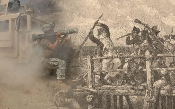 Montage: Svågerpolitik (foto Afghanistan: U.S. Army, teckning Sven Dufva: A Malmström, F. & G. Beijers Förlag, 1886)