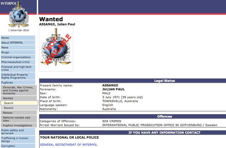 Skärmdump från Interpol.int