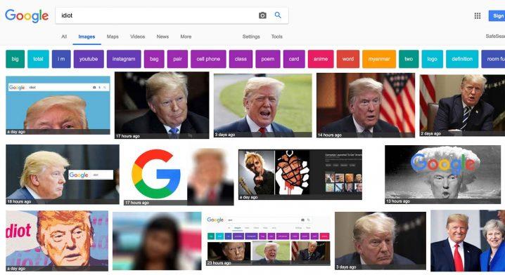 """En bildsökning på ordet """"idiot"""". Skärmdump från Google.com"""