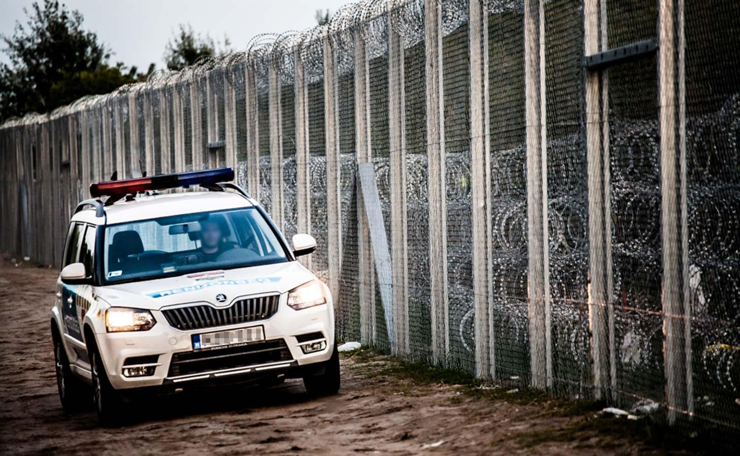 En gränspolis patrullerar Ungerns nya gränsstängsel. Foto: Bőr Benedek photo / Flickr (CC BY 2.0)